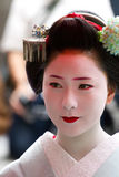 Unidentified Maiko on houjoue event. KYOTO, JAPAN - JUNE 5: Unidentified Maiko on houjoue event stands on the famous Shirakawa street in the Gion district on Royalty Free Stock Photo