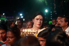 An unidentified man dressed as woman participates in the Hindu ritual called Chamayavilakku held in Kottangulangara temple Stock Photography