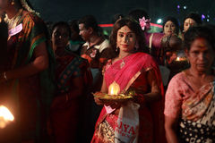An  unidentified man dressed as woman participates in the Hindu ritual called Chamayavilakku held in Kottangulangara temple Stock Photos