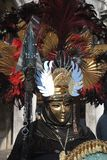 An unidentified man and dresses an elaborate fancy dresses with gold masks, red and black feather hat during Venice Carnival. VENICE, ITALY – FEBRUARY 8: An Stock Images