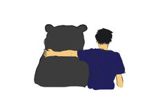 Unidentified man hug the big black bear  Stock Images