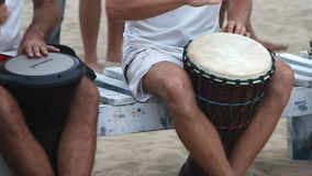 Unidentified man playing on drum. Goa, India - February 28, 2015: Unidentified man playing on drum stock video