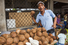 Unidentified man selling coconuts Royalty Free Stock Images