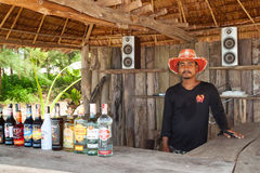 Unidentified man selling drinks on the local bar in koh kho khao island Royalty Free Stock Photos