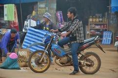 Unidentified man to ride his modified motorbike Stock Photo