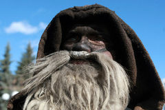 Unidentified man in traditional Kukeri costume is seen at the Festival of the Masquerade Games Kukerlandia in Yambol, Bulgaria Stock Images