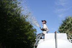 Unidentified man on water truck watering big tree Royalty Free Stock Images