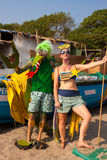 Unidentified man and woman in strange costumes at the annual festival of Freaks, Arambol beach, Goa, India, February 5, 2013. Tour Royalty Free Stock Images