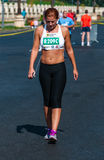 Unidentified marathon runner competes Royalty Free Stock Photos