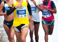 Unidentified marathon runners Stock Photo