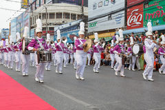 Unidentified marching band in the parade at annual festival Thao Suranaree monument Royalty Free Stock Image
