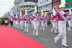 Unidentified marching band in the parade at annual festival Thao Suranaree monument Royalty Free Stock Photos