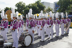 Unidentified marching band participate parade in grand of opening the traditional candle procession festival of Buddha Stock Image