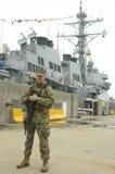 Unidentified marine providing security during Fleet Week 2014 Stock Image