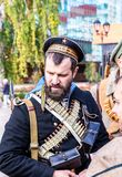 Unidentified members of historical reenactment battle stock photography