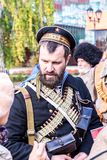 Unidentified members of historical reenactment battle royalty free stock images