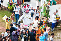 Unidentified men wear ghost costumes at Ghost Festival Royalty Free Stock Images