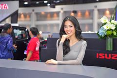 Unidentified model with Isuzu MU-X The Iconic SUV on display at The 35th Thailand International Motor Expo on November 28 royalty free stock photography