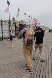 Unidentified model during photo shoot at Coney Island Boardwalk in Brooklyn Stock Image