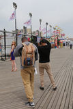 Unidentified model during photo shoot at Coney Island Boardwalk in Brooklyn Stock Images