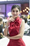 Unidentified model with presenters Nissan booth. Bangkok-Thailand-3 December 2017: Unidentified model with presenters Nissan booth at Motor Show Muangthong 2017 stock images
