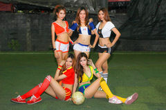 An Unidentified model  promote World cup 2014 Stock Image