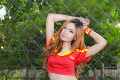 An Unidentified model  promote World cup 2014 Royalty Free Stock Image