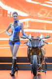 Unidentified Model with Yamaha R1m Royalty Free Stock Image