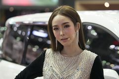 Unidentified modellings present at Motor Show. Bangkok-Thailand-3 December 2017: Unidentified modellings present at Motor Show Muangthong 2017 - The biggest royalty free stock images
