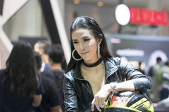 Unidentified modellings present at Motor Show. Bangkok-Thailand-3 December 2017: Unidentified modellings present at Motor Show Muangthong 2017 - The biggest royalty free stock photo