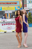 Unidentified models during photo shoot at Coney Island Boardwalk in Brooklyn Stock Image