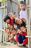 An unidentified Mon children 5-12 years old gather for photogra royalty free stock images