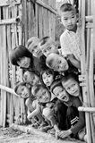 An unidentified Mon children 5-12 years old gather for photogra. KANCHANABURI THAILAND-January 29: An unidentified Mon children 5-12 years old gather for royalty free stock image