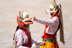 Unidentified monk performs a religious masked and costumed mystery dance of Tibetan Buddhism Royalty Free Stock Images