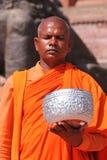 Unidentified monk prays during Buddha Jayanti Stock Photography