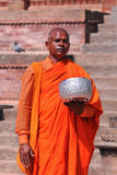 Unidentified monk prays during Buddha Jayanti Stock Image