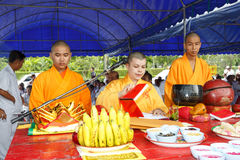 Unidentified monk of taoism cult ceremony preparation at Rayong Vegetarian Festival Stock Photography