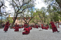 Unidentified monks debate at Sera monastery Stock Photos