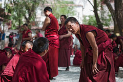 Unidentified monks debate at Sera monastery Stock Photography