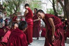 Unidentified monks debate at Sera monastery Stock Photography