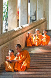 An unidentified monks teaching young novice monks Royalty Free Stock Photography