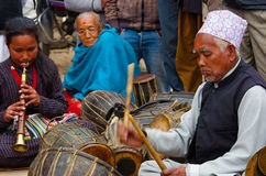 Unidentified musicians performing live music in Bhaktapur, Nepal Stock Photo