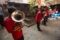 Unidentified musicians in traditional Nepalese wedding. Royalty Free Stock Photography