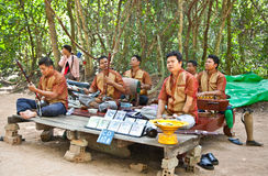 Unidentified musicians, victims of anti-personal mines, perform Stock Photos
