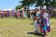 Unidentified Native American female dancers during NYC Pow Wow parade Royalty Free Stock Image