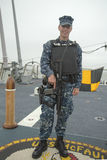Unidentified navy providing security during Fleet Week 2014 Stock Images