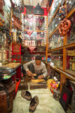 Unidentified Nepalese man working in the his wood workshop Stock Photography