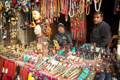 Unidentified Nepalese sellers souvenirs. Bhaktapur. Stock Image