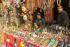 Unidentified Nepalese sellers souvenirs. Stock Photo