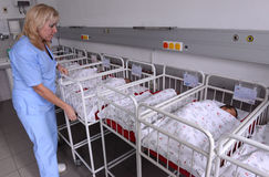 Unidentified new born babies in maternity hospital on january 8, 20016 in Sofia , Bulgaria Royalty Free Stock Image